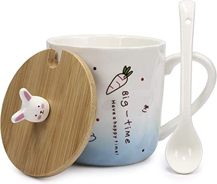 Preisvergleich für Hase Tasse mit Keramik Löffel & Echt-Holz Deckel für optimale Thermoeigenschaften von Urhome I Deckel als Untersetzer I Tee-Tasse Ostern Kaffeetasse Frühstück Kaffee-Becher Mug Blau