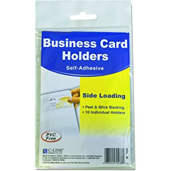 """C-Line Self-Adhesive Business Card Holders, Side Loading, 2"""" x 3-1/2"""", Clear, Pack of 10 (70238)"""