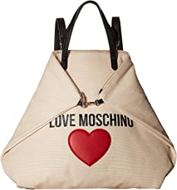 LOVE Moschino - Love Moschino & Heart Canvas Backpack