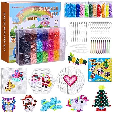 CGBOOM 6300 perles à repasser, 24 Couleurs 5mm perforé pour Les Loisirs créatifs, Ensemble de Jeu de Noël Bricolage créatif pour Les Enfants