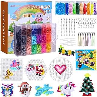 CGBOOM 6300 perles à repasser, 24 Couleurs 5mm perforé pour Les Loisirs créatifs, Ensemble de Jeu de Noël Bricolage créati...