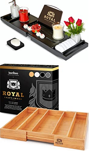 high quality ROYAL CRAFT new arrival WOOD Luxury Bathtub Caddy Tray new arrival (Black) and Bamboo Utensil Drawer Organizer, Natural outlet sale
