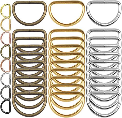 DIY Crafts Multi Purpose Metal D Rings for Keychain Lanyard Sewing Keychains Belts Dog Leash Accessories Jewellry Bags Wallets and Luggage Making 5 Pcs Silver