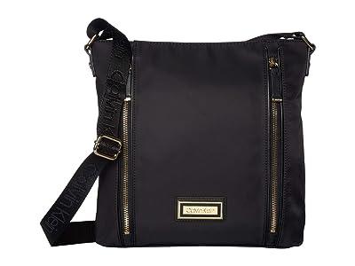 Calvin Klein Belfast Nylon Messenger (Black/Gold) Handbags