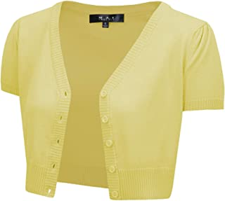 YEMAK Women's Short Sleeve Cropped Bolero Button Down Cardigan Sweater (S-4X)