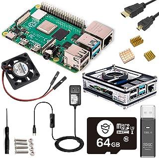 Raspberry Pi 4 4GB Starter MAX Kit - 64GB Edition/Raspberry Pi 4 ケース/Marstudy独自の低騒音ベアリングシステムファン/ヒートシンクのセット/MicroSDHCカード64G...