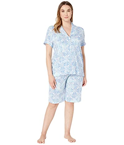 LAUREN Ralph Lauren Plus Size Short Sleeve Notch Collar Bermuda Pajama Set (Turqoise Print) Women