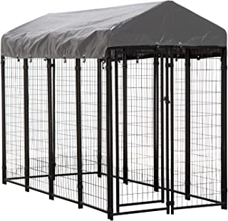 Houseables Dog Kennel, Large Dog Crate, 8 x 4 x 6 ft, Metal, Welded, Pet Cage, Heavy Duty Playpen, Outdoor/Outside Dogs House, Animal Runs, Yard Wire Fence, Crates for Dogs, Big Play Pen with Cover