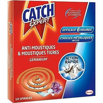 CATCH Expert Spirales Extérieures Anti-Moustiques & Moustiques Tigres - Parfum Géranium - 10 Spirales