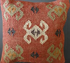 Trade Star Handwoven Killim Pillow Covers 18x18, Indian Outdoor Cushions, Sofa Throw Pillow Cases, Decorative Boho Jute Pillow Shams