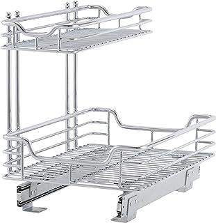 Household Essentials C26512-1 Glidez Under Sink Sliding Organizer   Pull Out Cabinet Shelf   Chrome   12.5 Inches Wide