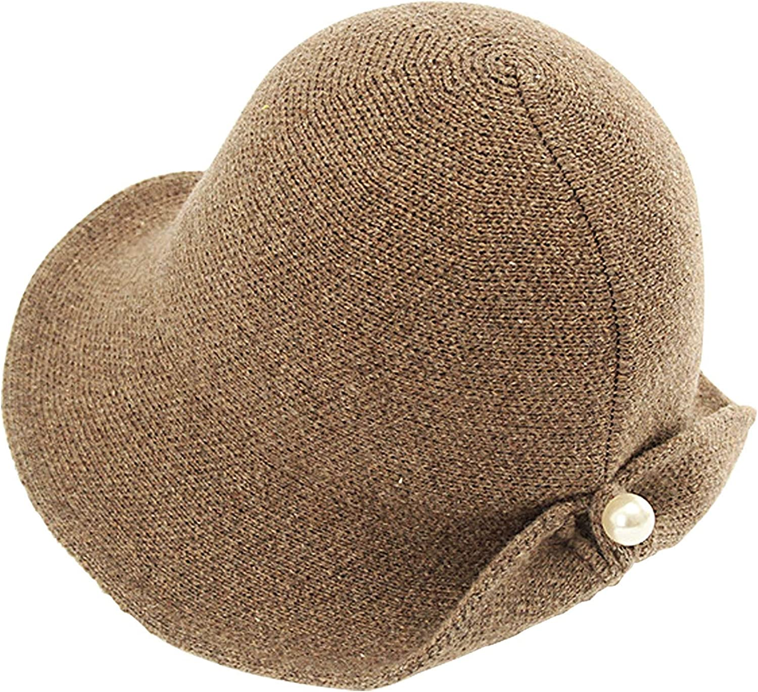 ANEWISH Womens Winter Wool Knit Bucket Hats Warm Soft Knitting Hat with Pearl Button Crimping