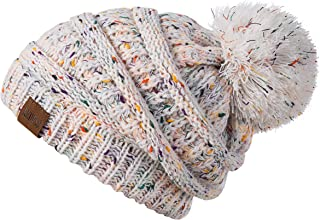 REDESS Women Winter Pom Pom Beanie Hat with Warm Fleece Lined, Thick Slouchy Snow Knit Chunky Baggy Skull Ski Cap