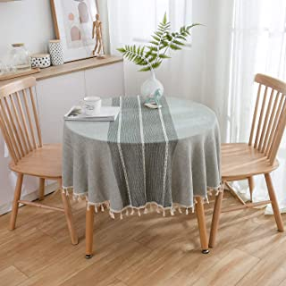 Table cloth, TEWENE Wrinkle Free Stitching Tassel Round Tablecloth Cotton Linen Round Table Cloths Washable Tablecloths fo...
