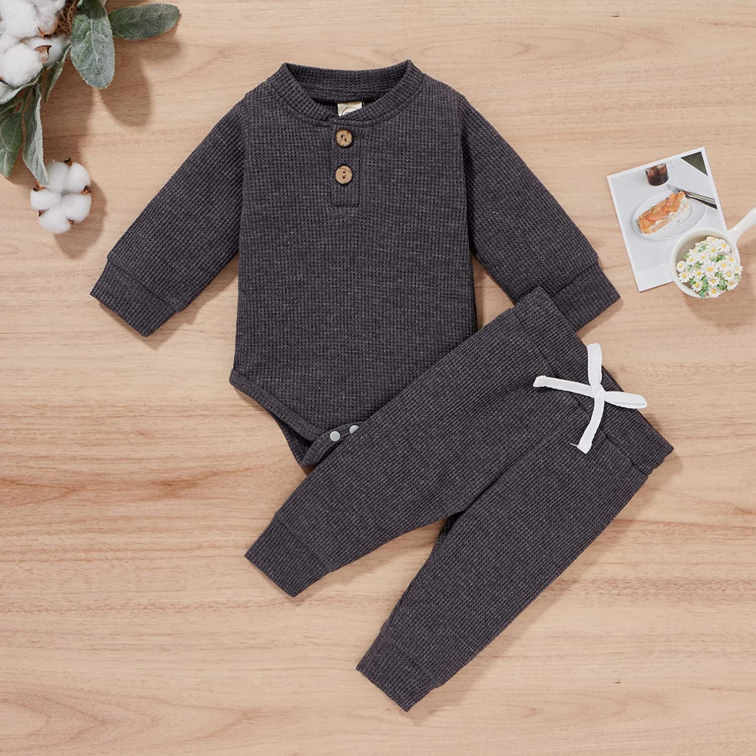 Toddler Baby Boy Girls Autumn Clothes Unisex Ribbed Long Sleeve Romper Tops+Elastic Long Pant Leggings Solid Outfit Set