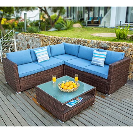 Cosiest 7 Piece Outdoor Patio Furniture Chocolate Brown Wicker Sectional Sofa W Heritage Blue Cushions Glass Top Coffee Table 2 Stripe Woven Pillows Incl Waterproof Cover Clips For Garden Pool Kitchen Dining