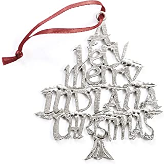 USA Handmade Indiana IN Indianapolis Christmas Ornament Pewter