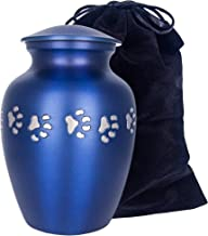 Adera Dreams Dearest Moments Pet Urn for Dog Ashes or Cat Cremains, Medium Mystic Blue and Silver Pet Cremation Urn for Pet Ashes, Handmade for Your Best Friend, Paw Memorial Urn W Velvet Bag