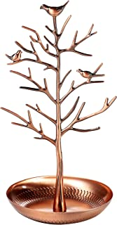 Shabby Chic Birds in Tree Jewelry Display - Holder Organizer for Necklaces, Bracelets, Earrings - Copper Plated
