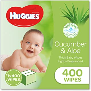 HUGGIES Baby Wipes Cucumber and Aloe Vera Baby Wipes, 400 Wipes Refill Pack