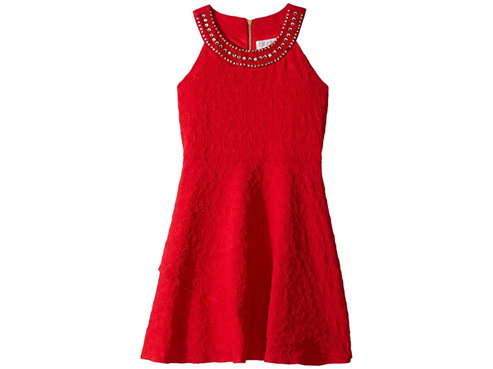 Us Angels Sleeveless Ringer Dress w/ Jewels on Neckline (Big Kids) (Ruby) Girl