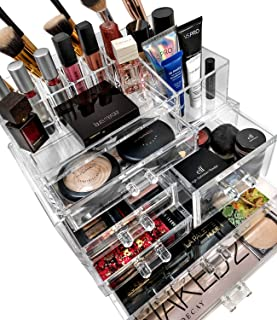 Sorbus Acrylic Cosmetics Makeup and Jewelry Storage Case Display Sets -Interlocking Drawers to Create Your Own Specially Designed Makeup Counter -Stackable and Interchangeable (Clear)