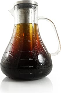 Dalkang Large Cold Brew Coffee Maker - 1.5L (48 oz) Glass Carafe with Removable Double Walled Stainless Steel Filter - Use to Brew Hot or Cold Tea or Coffee