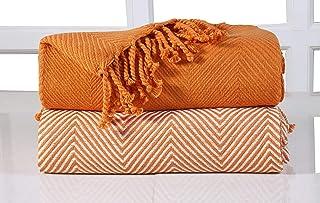 EHC 2 Mantas chevrón para sofá, Naranja, 125x 150cm