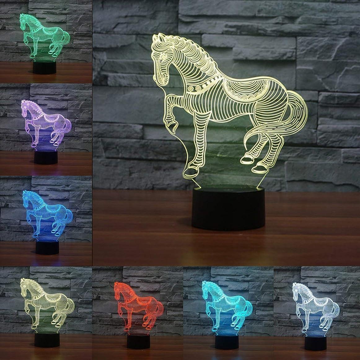 動物馬3Dナイトライト、驚くべき錯覚7色を変更アクリルタッチテーブルデスクLEDギフト用