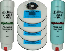 Original JFJ Combo Pack: 4 Easy Pro Buffing Pads, 1 JFJ Polish Compound #1 (Blue), and 1 JFJ Polish Compound #2 (White)