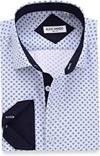 Alex Vando Mens Printed Dress Shirts Long Sleeve Regular Fit Fashion Shirt