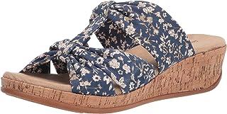 Easy Street Women's Wedge Sandal, Navy Mini Floral, 10
