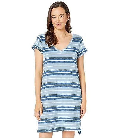 Dylan by True Grit Textured Slub Stripe V-Neck Short Sleeve Dress (Washed Denim) Women