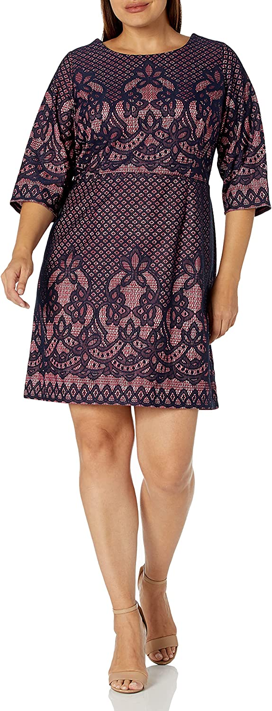Gabby Skye Women's Plus Size 3/4 Sleeve Round Neck Lace Fit & Flare Dress