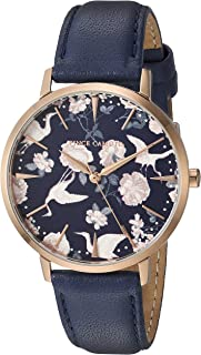 Women's VC/5348RGDB Rose Gold-Tone and Navy Blue Leather Strap Watch