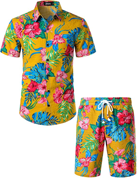 Retro Men's Swim Trunks – 1960s, 1970s, 1980s History JOGAL Mens Flower Casual Button Down Short Sleeve Hawaiian Shirt Suits $38.99 AT vintagedancer.com