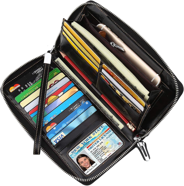 Dante Women's RFID Blocking Real Leather Zip Around Wallet Clutch Large Travel Purse Wristlet(Large Size Black)