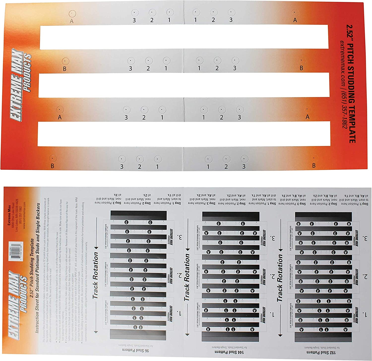 Extreme Max 5001.5502 120-Stud Track Pack with Round Backers 1.40 Stud Length