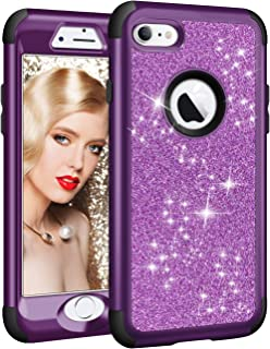 Vofolen for iPhone 6S Plus Case iPhone 6 Plus Case Glitter Bling Shiny Heavy Duty Protection Full-Body Protective Hard Shell Hybrid Rubber Bumper Armor Front Cover for iPhone 6 Plus 6S Plus Purple