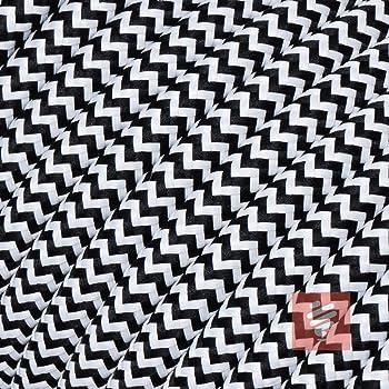 5 Meter Textilkabel Fur Lampe Stoffkabel 2 Adrig 2x0 75mm Schwarz Weiss Zick Zack Amazon De Baumarkt