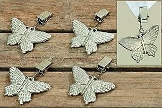 Pesos de mantel de hierro, plateados, diseño de mariposas (conjunto de 4)