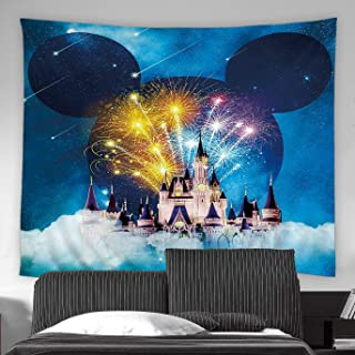 AMFD Creative Castle Tapestry Fairy Tale Night Fireworks Starry Sky Wall Decor Romantic Navy Blue Wall Hanging Art Beach Blanket Dorm Room Bed Sheets 70x70 inch