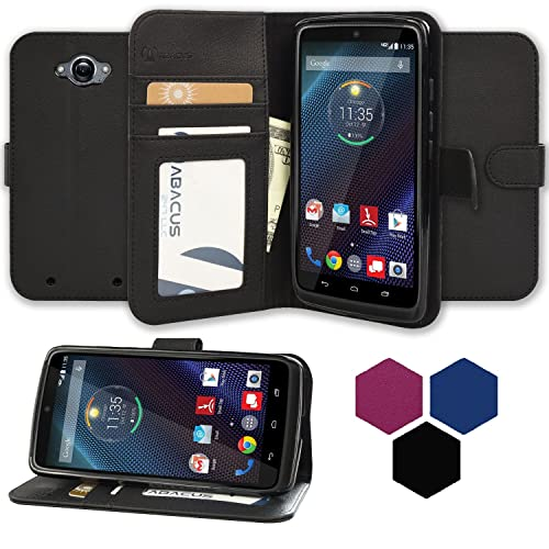 DROID Turbo Case, Abacus24-7 Wallet with Flip Cover and Stand, Black