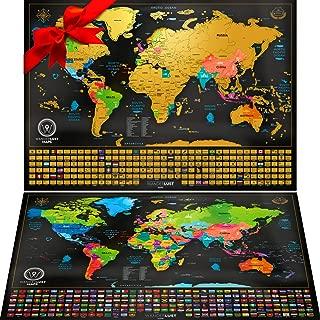 Mapa Mundi Rascar viene con un Mapa Sorpresa (Mapa de Estados Unidos O Mapa Rascable Europa), Color Negro y Dorado, 61 x 43 Centímetros, Hechos en Europa