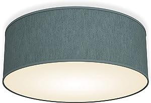 Lámpara de techo moderna con pantalla textil Ø 30cm, Lampara LED con 2 llamas, Luz de techo de tela E14, Pantalla de Algodón gris