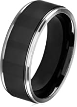 West Coast Jewelry | Crucible Black Plated Titanium Grooved Comfort Fit Ring (8mm)