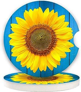 Kleine 6,5 cm Auto Untersetzer, 2 Stück, saugfähige Keramik Untersetzer für Auto, halten Getränkehalter sauber und trocken, Auto Untersetzer Set für Damen und Herren, Becherhalter (blaue Sonnenblume)