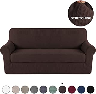 Turquoize Spandex 2 Piece Sofa Cover Couch Cover with Separate Cushion Cover Brown Stylish Furniture Cover/Protector Jacquard Lycra Sofa Cover Form Fit Slip Resistant Machine Washable (Sofa, Brown)