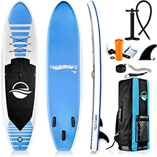 SereneLife Inflatable Stand Up Paddle Board (6 Inches Thick) with Premium SUP Accessories & Carry Bag | Wide Stance, Botto...