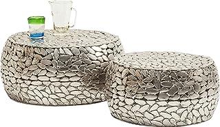 Kare Design Pebbles Deluxe Lot de 2 Tables Basses Argenté